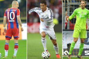 Ronaldo, Neuer y Robben, candidatos a mejor jugador europeo